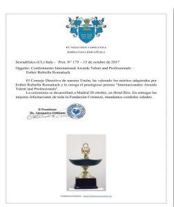 GALARDON INTENATIONAL AWARDS TALENT AND PROFESSIONALS FUNDACION COSTANZA